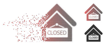 Vector closed office icon in dispersed, dotted halftone and undamaged entire versions. Disappearing effect uses rectangular particles and horizontal gradient from red to black.