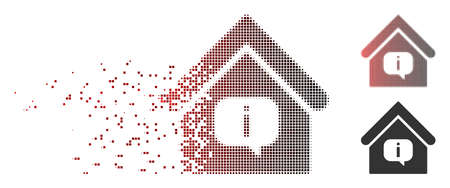 Vector hint building icon in dissolved, pixelated halftone and undamaged whole versions. Disintegration effect involves rectangular scintillas and horizontal gradient from red to black.