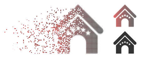 Vector hotel building icon in sparkle, dotted halftone and undamaged whole versions. Disappearing effect uses rectangle scintillas and horizontal gradient from red to black. Illustration