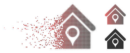 Vector house location icon in sparkle, dotted halftone and undamaged entire variants. Disappearing effect involves square scintillas and horizontal gradient from red to black.