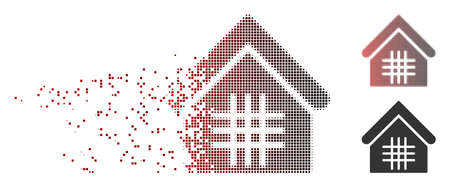 Vector jail icon in dissolved, dotted halftone and undamaged entire versions. Disintegration effect uses rectangle scintillas and horizontal gradient from red to black.
