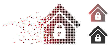 Vector lock building icon in dissolved, pixelated halftone and undamaged entire versions. Disappearing effect involves rectangular dots and horizontal gradient from red to black.