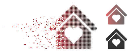 Vector love house icon in fractured, pixelated halftone and undamaged whole versions. Disintegration effect uses square sparks and horizontal gradient from red to black. Illustration
