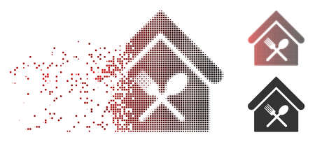 Vector food court icon in dissolved, dotted halftone and undamaged solid variants. Disappearing effect uses square scintillas and horizontal gradient from red to black.