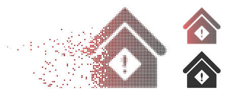 Vector problem building icon in dispersed, dotted halftone and undamaged solid variants. Disappearing effect involves rectangle sparks and horizontal gradient from red to black.