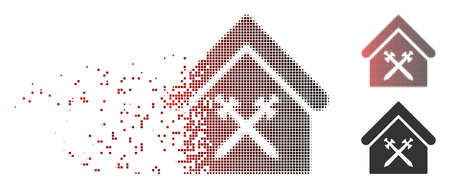 Vector guard office icon in dispersed, pixelated halftone and undamaged entire versions. Disappearing effect involves rectangle sparks and horizontal gradient from red to black.