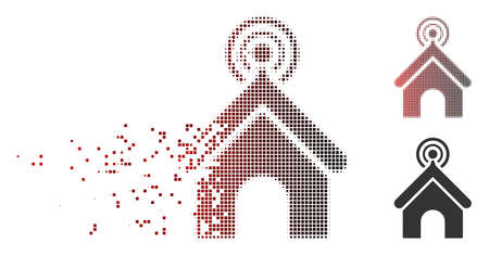 Vector telecom office icon in dissolved, dotted halftone and undamaged whole variants. Disappearing effect involves square sparks and horizontal gradient from red to black. Illustration