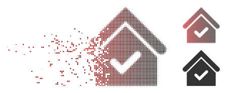 Vector valid house icon in fractured, pixelated halftone and undamaged whole variants. Disappearing effect involves rectangle sparks and horizontal gradient from red to black.
