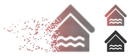 Vector water pool icon in dissolved, pixelated halftone and undamaged entire versions. Disappearing effect uses square sparks and horizontal gradient from red to black.