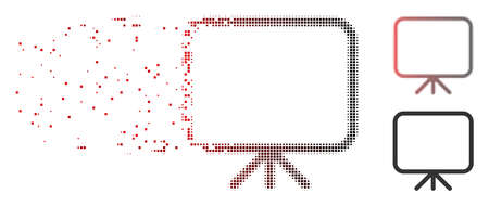 Vector presentation screen icon in fractured, dotted halftone and undamaged entire variants. Disintegration effect involves rectangle particles and horizontal gradient from red to black.