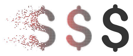 Vector dollar icon in dissolved, dotted halftone and undamaged entire versions. Disappearing effect involves rectangle sparks and horizontal gradient from red to black.