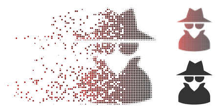 Vector spy icon in sparkle, dotted halftone and undamaged whole variants. Disintegration effect involves rectangular particles and horizontal gradient from red to black. Illustration