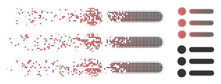 Vector items icon in fractured, pixelated halftone and undamaged whole versions. Disintegration effect uses rectangular particles and horizontal gradient from red to black.