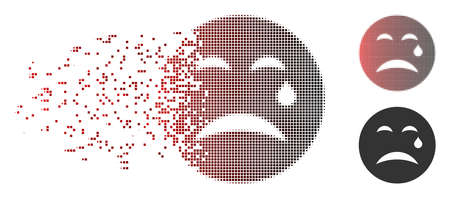 Vector cry smiley icon in dispersed, pixelated halftone and undamaged entire versions. Disintegration effect uses rectangle particles and horizontal gradient from red to black.