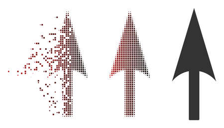 Vector arrow axis y icon in fractured, pixelated halftone and undamaged entire variants. Disintegration effect involves rectangular particles and horizontal gradient from red to black.