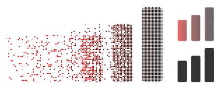 Vector bar chart increase icon in fractured, dotted halftone and undamaged solid variants. Disappearing effect involves rectangular sparks and horizontal gradient from red to black. Ilustração
