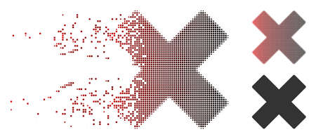 Vector delete x-cross icon in sparkle, dotted halftone and undamaged whole versions. Disappearing effect uses rectangular particles and horizontal gradient from red to black.
