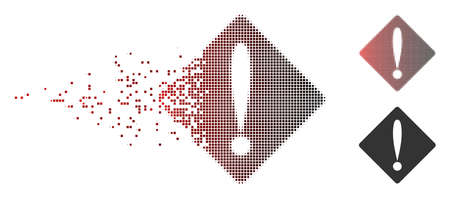 Vector problem icon in sparkle, dotted halftone and undamaged whole variants. Disappearing effect involves rectangle sparks and horizontal gradient from red to black.