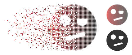 Vector negation smiley icon in dispersed, pixelated halftone and undamaged entire variants. Disintegration effect uses rectangular particles and horizontal gradient from red to black.
