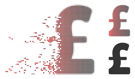 Vector Pound Sterling icon in fractured, pixelated halftone and undamaged solid variants. Disintegration effect uses rectangular scintillas and horizontal gradient from red to black. Vetores
