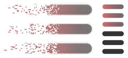 Vector stack icon in dispersed, dotted halftone and undamaged entire variants. Disappearing effect uses rectangle particles and horizontal gradient from red to black.
