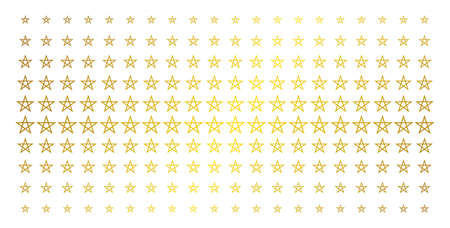 Star pentagram icon gold halftone pattern. Vector star pentagram symbols are organized into halftone grid with inclined gold gradient. Constructed for backgrounds, covers,