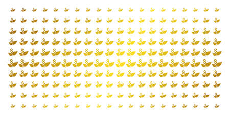 Eco startup icon gold colored halftone pattern. Vector eco startup shapes are organized into halftone grid with inclined gold gradient. Constructed for backgrounds, covers,