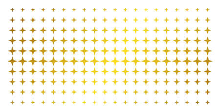 Space star icon golden halftone pattern. Vector space star pictograms are organized into halftone grid with inclined golden gradient. Constructed for backgrounds, covers,