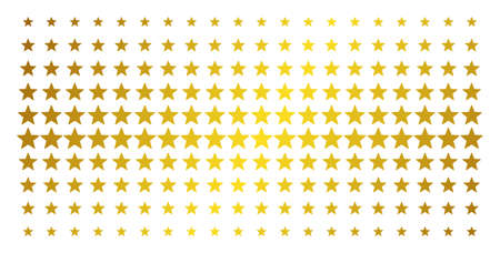Five pointed star icon golden halftone pattern. Vector five pointed star symbols are arranged into halftone array with inclined gold color gradient. Constructed for backgrounds, covers,