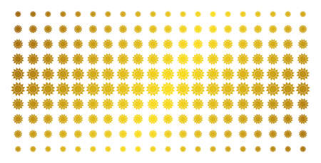 Sun icon gold colored halftone pattern. Vector sun shapes are organized into halftone array with inclined golden gradient. Designed for backgrounds, covers, templates and abstract concepts.