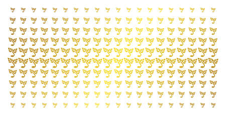 Sprout icon golden halftone pattern. Vector sprout items are organized into halftone grid with inclined gold color gradient. Constructed for backgrounds, covers, templates and luxury effects. Illustration