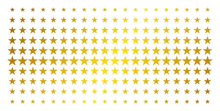 Confetti star icon gold colored halftone pattern. Vector confetti star pictograms are organized into halftone array with inclined gold gradient. Constructed for backgrounds, covers,