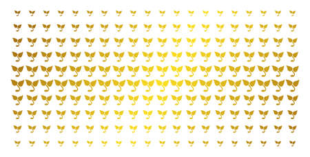 Sprout icon gold colored halftone pattern. Vector sprout objects are organized into halftone matrix with inclined gold color gradient. Constructed for backgrounds, covers, Illustration
