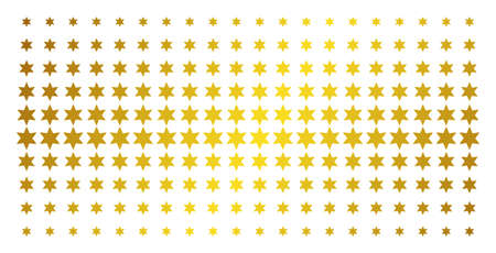 Six-pointed star icon gold halftone pattern. Vector six-pointed star symbols are arranged into halftone grid with inclined gold color gradient. Constructed for backgrounds, covers, Illustration