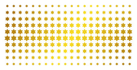 Six pointed star icon gold colored halftone pattern. Vector six pointed star symbols are organized into halftone grid with inclined gold color gradient. Designed for backgrounds, covers,