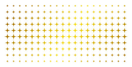 Space star icon golden halftone pattern. Vector space star items are arranged into halftone matrix with inclined golden gradient. Designed for backgrounds, covers, templates and abstract effects. Illustration