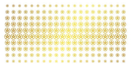 Star pentacle icon golden halftone pattern. Vector star pentacle symbols are arranged into halftone array with inclined gold gradient. Constructed for backgrounds, covers, Illustration