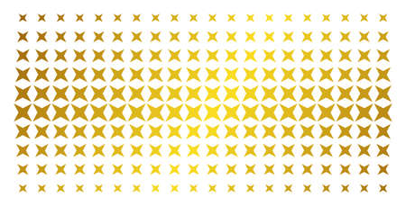 Sparkle star icon golden halftone pattern. Vector sparkle star shapes are arranged into halftone grid with inclined gold color gradient. Designed for backgrounds, covers,