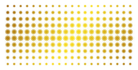 Sun icon gold colored halftone pattern. Vector sun items are arranged into halftone matrix with inclined golden gradient. Constructed for backgrounds, covers, templates and beautiful compositions.