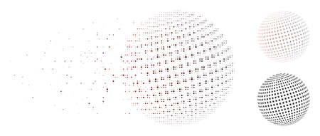 Vector square dotted abstract sphere icon in fractured, pixelated halftone and undamaged whole versions.