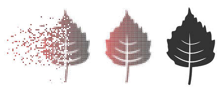 Vector birch leaf icon in dissolved, pixelated halftone and undamaged solid variants. Disappearing effect involves square particles and horizontal gradient from red to black.