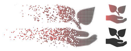 Vector flora care hand icon in sparkle, pixelated halftone and undamaged whole versions. Disappearing effect involves square scintillas and horizontal gradient from red to black.