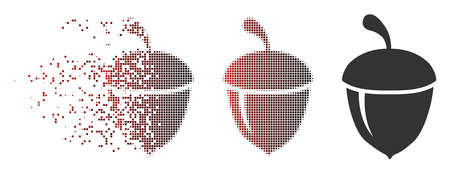 Vector acorn icon in fractured, dotted halftone and undamaged solid versions. Disappearing effect involves square particles and horizontal gradient from red to black.