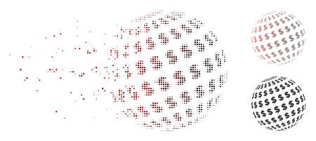 Vector dollar abstract sphere icon in dispersed, dotted halftone and undamaged solid variants. Disappearing effect uses square particles and horizontal gradient from red to black.