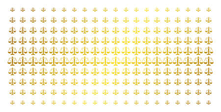 Weight scales icon golden halftone pattern. Vector weight scales symbols are organized into halftone array with inclined gold gradient. Constructed for backgrounds, covers,