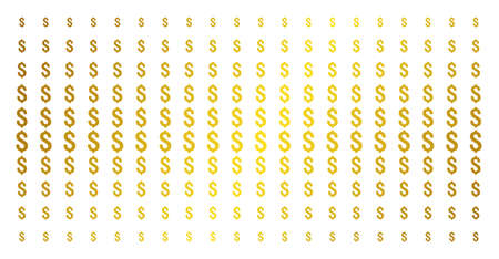 Dollar icon golden halftone pattern. Vector dollar pictograms are arranged into halftone grid with inclined gold gradient. Constructed for backgrounds, covers, templates and beautiful effects. Illustration
