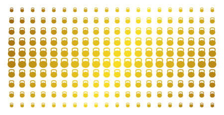 Weight icon golden halftone pattern. Vector weight shapes are arranged into halftone array with inclined gold color gradient. Designed for backgrounds, covers, templates and abstract effects. Ilustrace