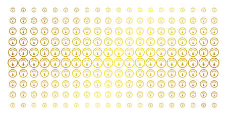 Gauge icon golden halftone pattern. Vector gauge pictograms are arranged into halftone matrix with inclined gold gradient. Constructed for backgrounds, covers, templates and bright effects. Ilustração