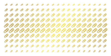 Paperclip icon golden halftone pattern. Vector paperclip symbols are organized into halftone matrix with inclined gold gradient. Constructed for backgrounds, covers, templates and beautiful concepts.