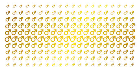 Mars symbol icon gold halftone pattern. Vector Mars symbol symbols are organized into halftone grid with inclined golden gradient. Designed for backgrounds, covers, templates and abstract concepts.